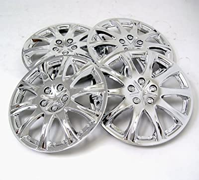 TuningPros WSC-503C15 Chrome Hubcaps Wheel Skin Cover 15-Inches Silver Set of 4
