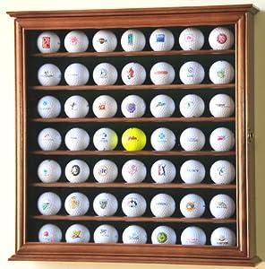 49 Golf Ball Display Case Cabinet Rack Stand Holder w  UV Protection -Walnut Finish by sfDisplay