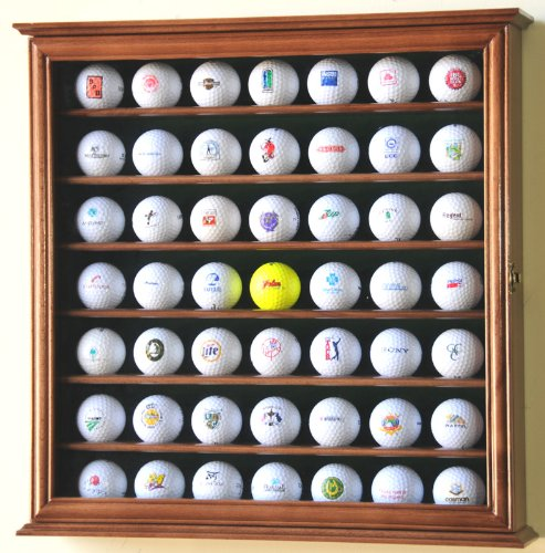 49 Golf Ball Display Case Cabinet Holder Rack w/ UV Protection golf ball sample display case