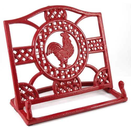 anchor-hocking-cast-iron-red-rooster-cookbook-holder