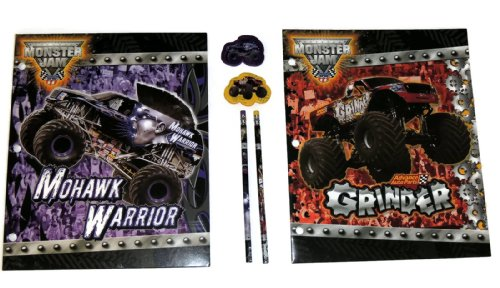 Hot Wheels Monster Jam Mohawk Warrior and Grinder 6 Piece Pocket Folder Set with Matching Pencils and Erasers - 1
