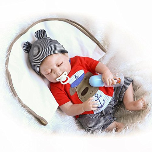 57cm Rare Alive Silicone Vinyl Full Body Washable Newborn Sleeping Baby Boy Dolls (Full Body Silicone Baby Boy compare prices)