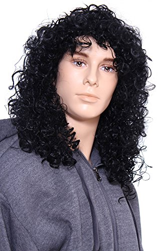 Simplicity Long and Curly 70's Rocker Costume Wig for Men, Black