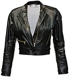 Attuendo Womens Faux Leather Cropped Biker Jacket (Large)