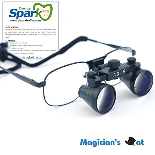 30-x-Magnification-Professional-Dental-Loupes-by-Spark-with-500-600-mm-Working-Distance-Black-Metal-Frame-and-Adjustable-Pupil-Distance-Model-CM300M