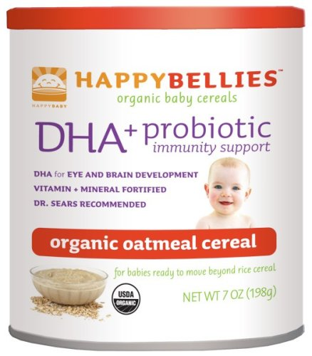 HAPPYBELLIES Oganic Baby Cereals, DHA + Probiotic, Organic Oatmeal Cereal, 7-Ounce Containers (Pack of 6)