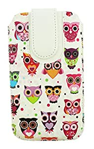 Emartbuy® Multi Coloured Owls Print Premium PU Leather Slide in Pouch Cover ( LM2 ) With Pull Tab Suitable For Lava A88