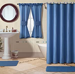 Bathroom set 1 fabric shower curtain 12 for Matching bathroom sets