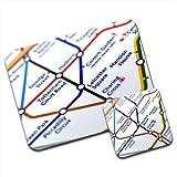 Close Up Tube Map Leicester Square, London Premium Mousematt & Coaster Set