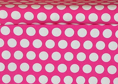 [Knit Pink Princess Dots Design Fabric By the Yard, 95% Cotton, 5% Lycra Super-stretchy (4 Way Stretch), 60 Inches Wide (1] (Fairy Princess Costume Diy)