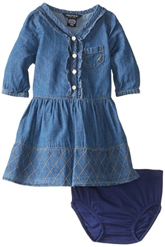Nautica Baby-Girls Infant 3/4 Sleeve Dress, Chambray, 18 Months