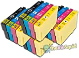 The Ink Squid 4 Sets Of T1291 T1292 T1293 T1294 (T1295 'Apple') High Capacity Compatible Ink Cartridges For Epson Workforce Wf7515 Printer