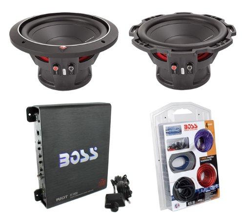"2) Rockford Fosgate P1S4-10 10"" 1000W Subwoofers Sub+Mono Amplifier+4 Ga Amp Kit"
