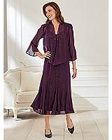 Old Pueblo Traders Women's Plus Size Beaded Georgette Jacket Dress