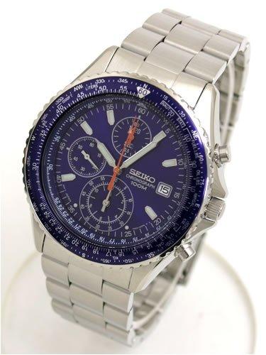 セイコー(SEIKO)パイロット クロノグラフ腕時計 (ブルー)SND255