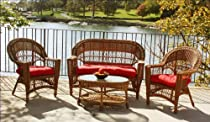 Hot Sale Outdoor Wicker Patio Furniture Set, Brown, with Sunbrella Red Cushions