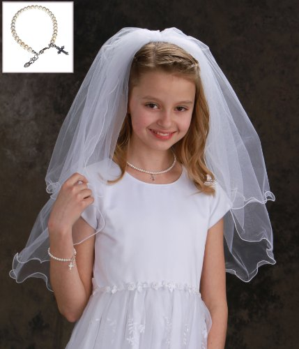 White First Communion Veil for Girl with Sterling Silver Pearl Bracelet in Gift Box