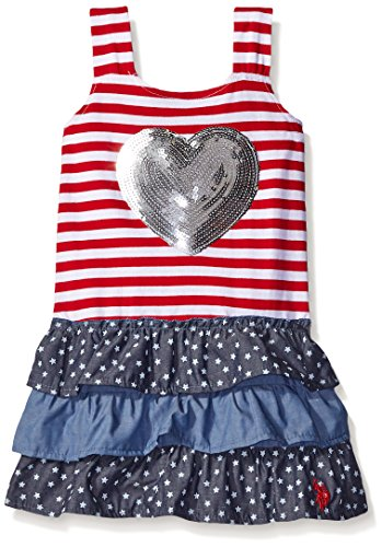 U.S. Polo Assn. Girls' Stars and Stripes Ruffle Tank Dress, Engine Red, 18 Months