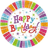 Amscan Radiant Large 22.9cm Happy Birthday Paper Plates ~ Pack of 8