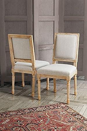 MY-Furniture - BEAUMONT - Silla de comedor con respaldo cuadrado, tipo Frances Luis XVI, de madera de abedul