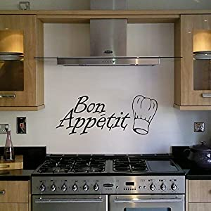 Pegatina Mural Decorativa con Diseño de Gorro de Chef y Frase 'Bon Appétit' - Para Cocina o Comedor por Wall Art Desire