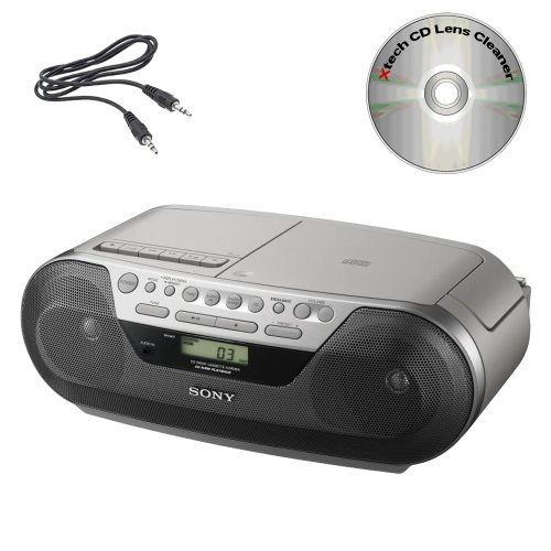 Sony Cd Cd-R/Rw Digital Radio Am/Fm Tuner Cassette Recorder Mega Bass Portable Stereo Boombox With Program, Shuffle, Repeat, 20 Track Rms Programming, Cd/Cassette Dubbing, 30 Preset Radio Stations, Includes Auxiliary Cable F/ Ipod, Iphone, & Mp3 Players &