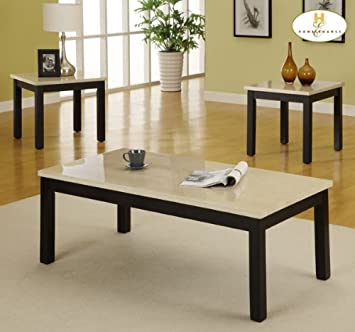 Homelegance Archstone 3 Piece Coffee Table Set w/ Faux Marble Top