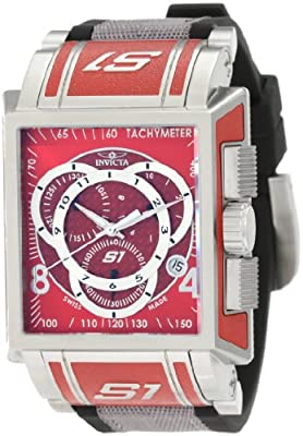 Invicta Men's 1450 S1 Chronograph Red Dial Black Polyurethane and Grey Nylon Watch
