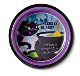 "Grasslands Road Pretty Wicked ""Who Needs a Glass.."" Black Cat Wine Coaster and Stopper Set"