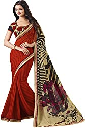 Ambica women faux grorgette digital print saree(Amb-4210_red_Freesize)