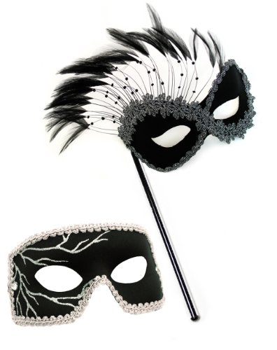 Persuasion-Black Lightning Black Stick Masquerade Masks for a Couple