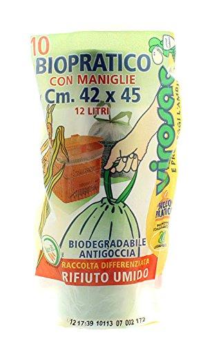 Virosac Sacchetti Umido Mater-Bi con Maniglie Mis 42X45 Cm 12 Litri