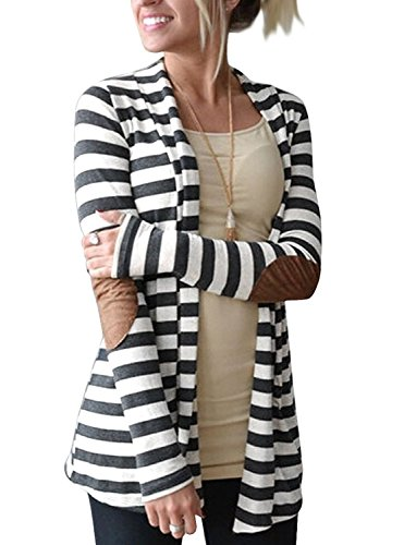 OURS-Womens-Elbow-Patch-Long-Sleeve-Shawl-Collar-Striped-Open-Front-Cardigan-Sweater