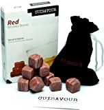 Cuisavour's Signature Whiskey Stones - Set of 9 Natural Griotte Chilling Rocks - Novelty Whisky Stones for Dummies, Afficionado & Connoisseur - Deluxe Vintage Liquor Gift Set to Replace Ice Cubes - Perfect for Spirit like Bourbon - Personal Sipping Stones