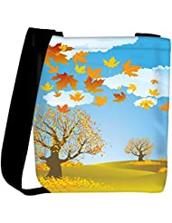 Snoogg Autumn Background Vector Womens Carry Around Cross Body Tote Handbag Sling Bags