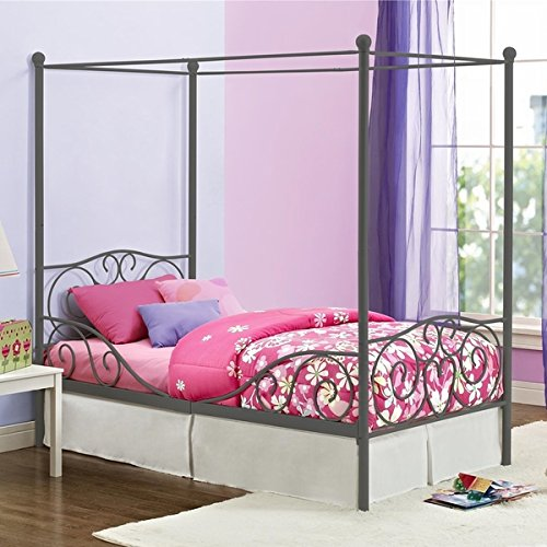 Girl's Grey Metal Canopy Bed Twin Sized Princess Gray Frame Vintage Antique French Country Victorian Style Kids Bedroom Furniture Mattress Mosquito Nets Curtains Bedding Pillows Blankets Not Included (Twin Canopy Frame compare prices)