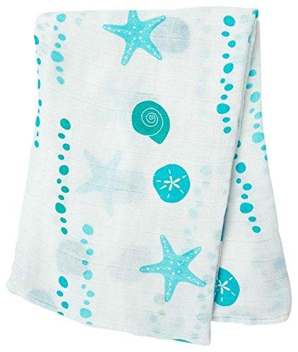 """Lulujo Baby Bamboo Muslin Swaddling Blanket, Seaside, 47"""" x 47"""""""