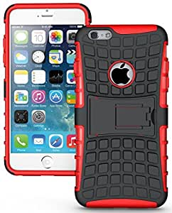 Chevron Hybrid Military Grade Dual Armor Kick Stand Back Cover Case for Apple iPhone SE / Apple iPhone 5 (Red)
