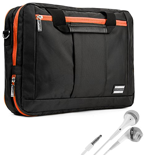 Vangoddy El Prado Sling - Black Orange Deluxe Pro Shoulder Messenger Carrying Bag For Apple Macbook Air 11 Inch + White Hands-Free Earphones W/ Microphone front-853485