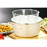 5 Litre Enamel Cream Deep Fat Fryer Chips Pot Metal Handle Cream W/Pyrex Lidby Premier