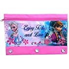 Disney's Frozen 3 Ring Pencil Pouch Holder: 6in X 9.5in, Grommet Rings, Zippered Closures, Elsa and Anna
