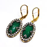 Admyro-Green Onex with Natural CZ 925 Silver Girls Earrings- AZE037