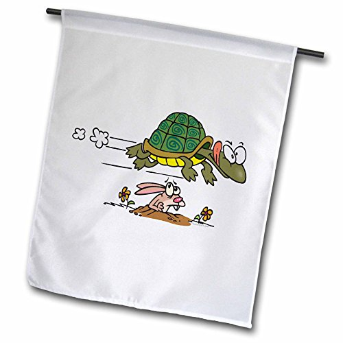 Tortoise and The Hare Funny Cartoon Garden Flag, 12 by 18-Inch