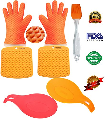 Oven Mitts Heat Resistant BBQ Grill Oven Gloves for Barbecue Baking Smoking & Cooking From AdroitOne + 2 Spoon Rests + 2 Pot Holders/Trivets +1 Basting/Pastry Brush (Elite Gourmet Indoor Grill compare prices)