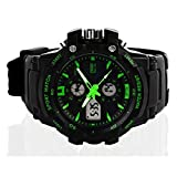 Skmei 0990 Double Display of Outdoor Sports Fan Watch 3atm Water Resistant Digital & Analog Sports Watch with Soft Plastic Strap (green)