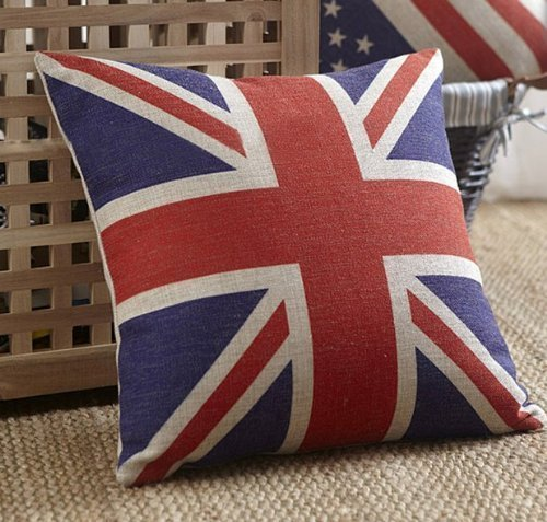 Luxbon British Vintage Style Union Jack Flag Throw Pillow Case, Pillowcase (British Flag Bedding compare prices)