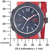 Tommy Hilfiger Men's 1790736 Sport Black Dial Red Silcon Strap with Date Function Watch
