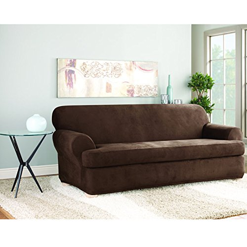 Sure Fit Stretch Suede T Sofa Slipcover Chocolate Home