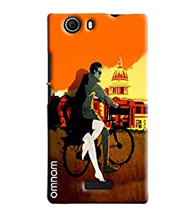 Omnam Boy Riding Bicycle With Girl Near Washigton Dc Printed Back Cover Case For Micromax Nitro E311