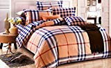 Bellagio Checks n Stripes Cotton 1 Double Bed Sheet & 2 Pillow Covers (Brown and Blue)
